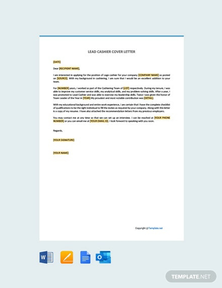 Free Lead Cashier Cover Letter