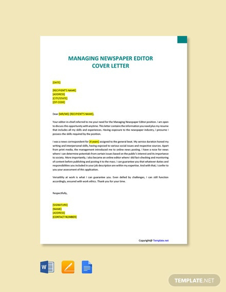 Free Managing Newspaper Editor Cover Letter