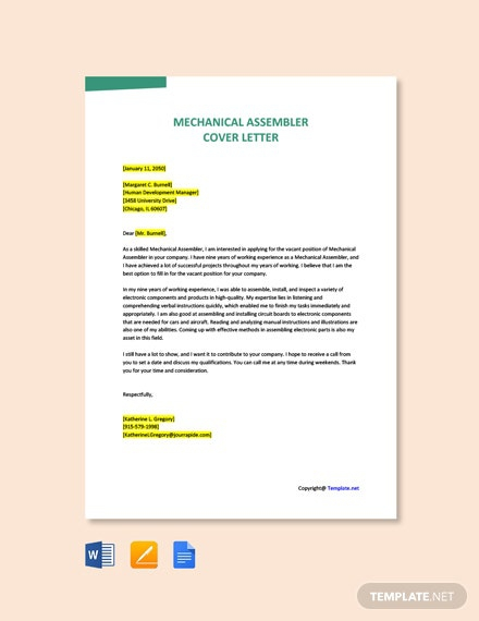 Free Mechanical Assembler Cover Letter