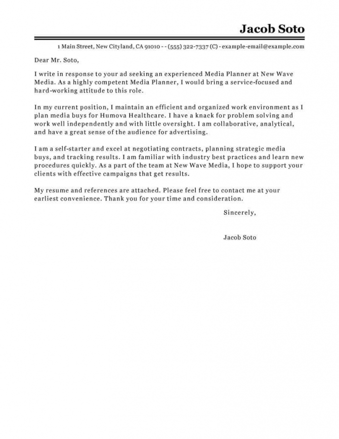 Free Media Planner Cover Letter Examples   Templates From Trust