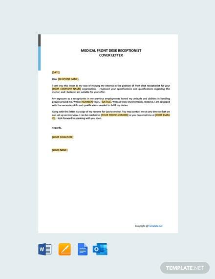 Free Medical Front Desk Receptionist Cover Letter