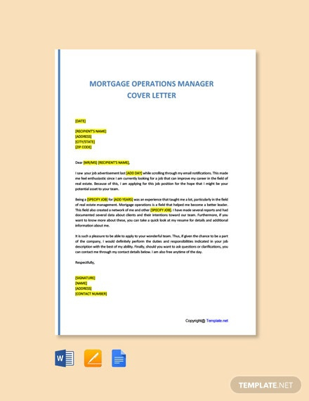 Free Mortgage Operations Manager Cover Letter Template