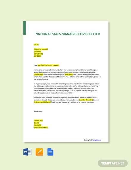 Free National Sales Manager Cover Letter Template