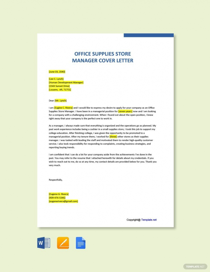 Free Office Supplies Store Manager Cover Letter Template In