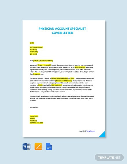 Free Physician Account Specialist Cover Letter Template