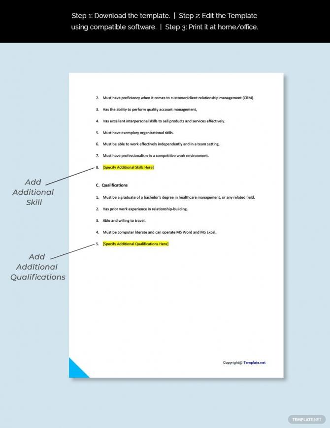 Free Physician Account Specialist Job Description Template In