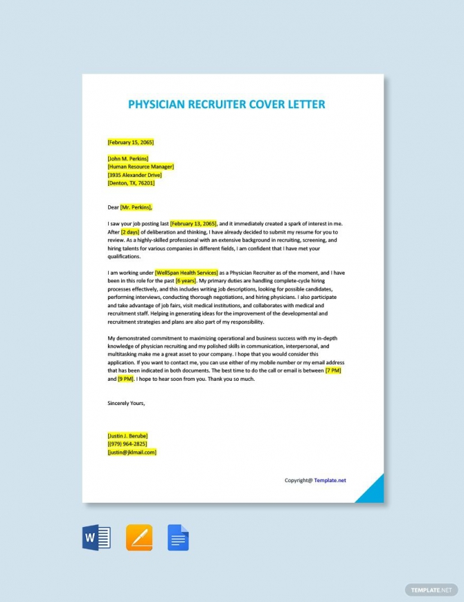 Free Physician Recruiter Cover Letter Template In