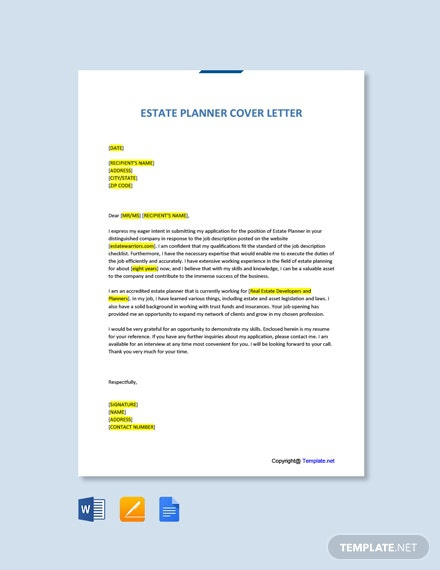 Free Planner Cover Letter Templates