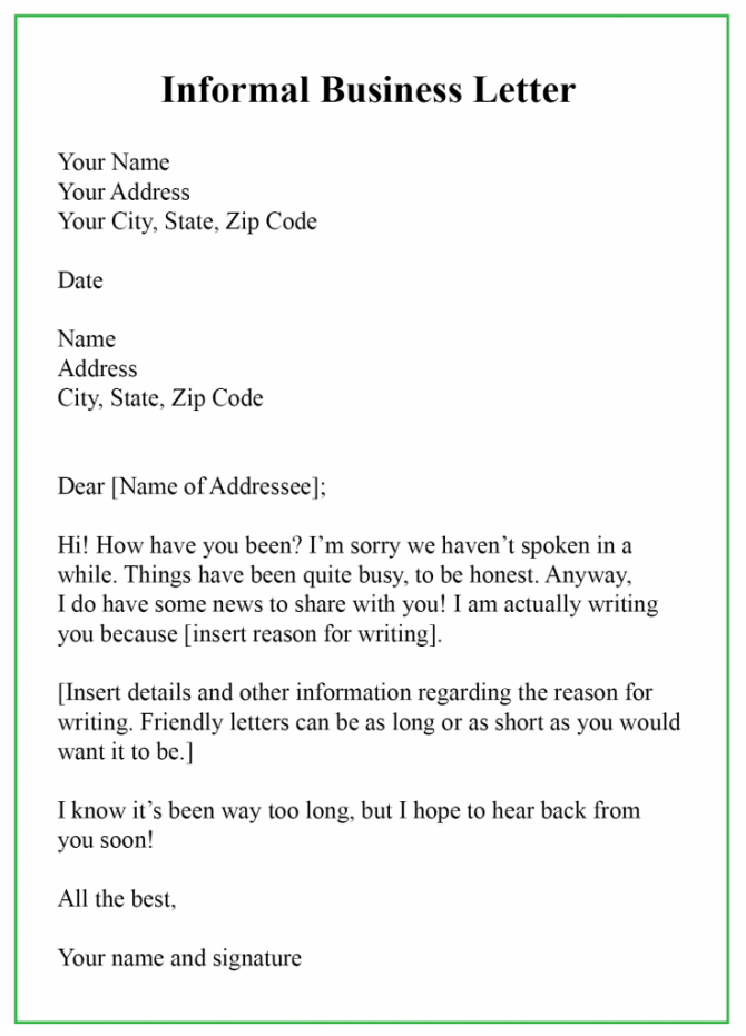 Free Printable Informal Business Letter Templates