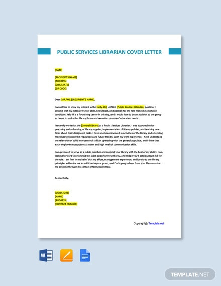 Free Public Services Librarian Cover Letter Template