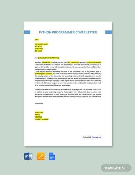 Free Python Programmer Cover Letter Template