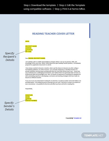 Free Reading Teacher Cover Letter Template