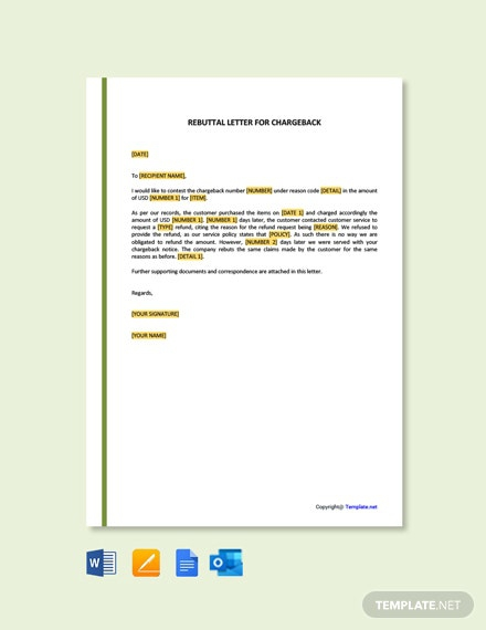 Free Rebuttal Letter For Charge Back Template