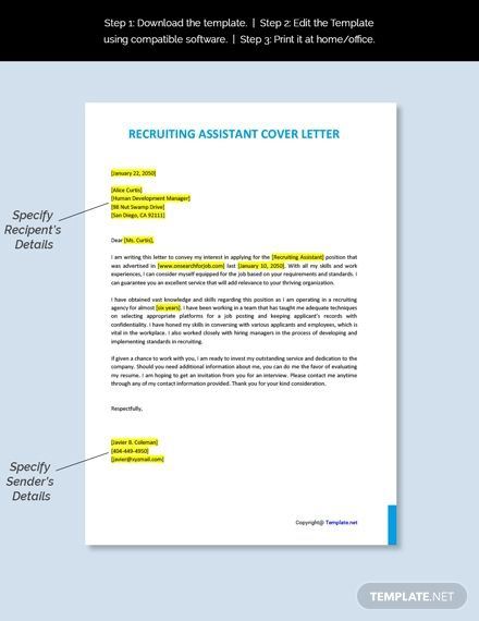 Free Recruiting Assistant Cover Letter