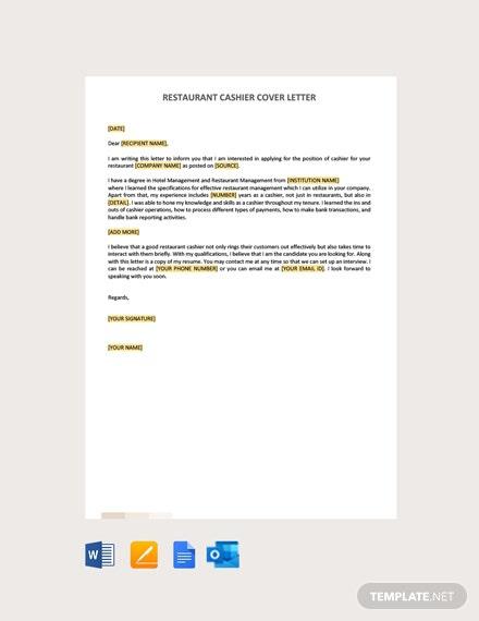 Free Restaurant Cashier Cover Letter