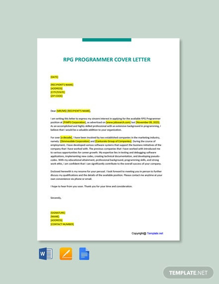 Free Rpg Programmer Cover Letter Template
