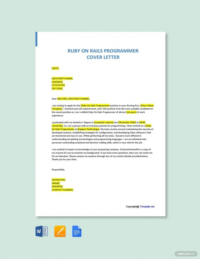 Free Ruby On Rails Programmer Cover Letter Template In