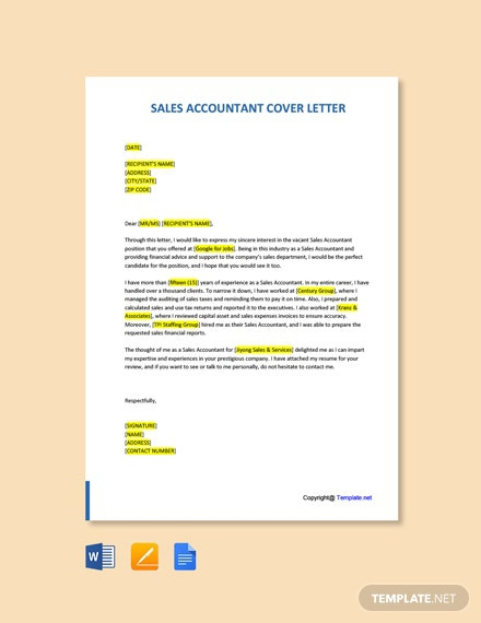 Free Sales Accountant Cover Letter Template