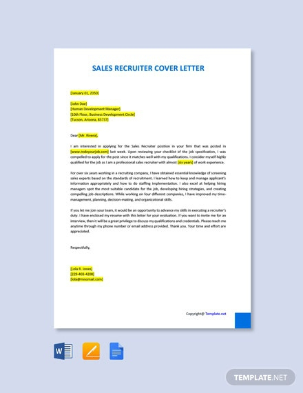 Free Sales Recruiter Cover Letter