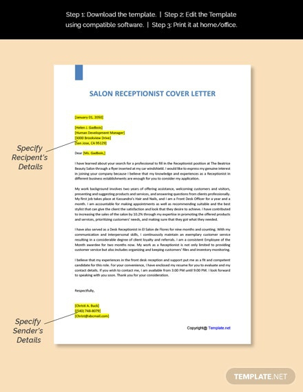 Free Salon Receptionist Cover Letter