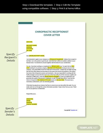 Free Sample Chiropractic Receptionist Cover Letter Template In
