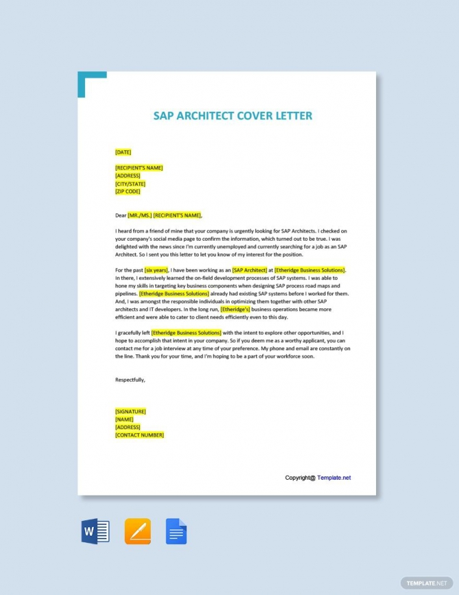 Free Sap Architect Cover Letter Template In