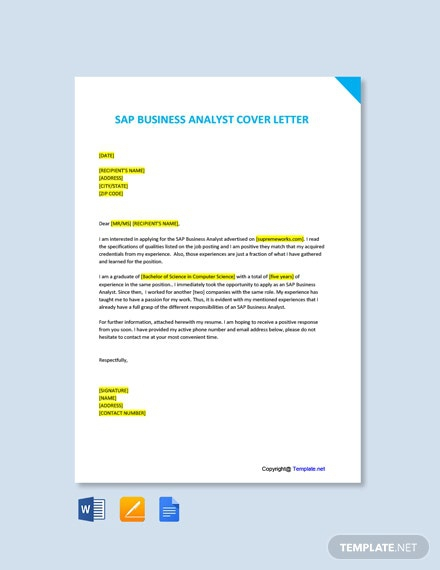 Free Sap Business Analyst Cover Letter Template