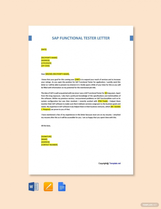 Free Sap Functional Tester Cover Letter Template In
