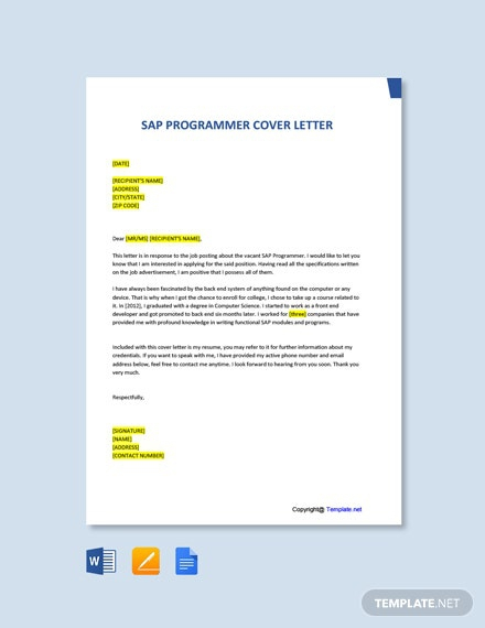 Free Sap Programmer Cover Letter Template