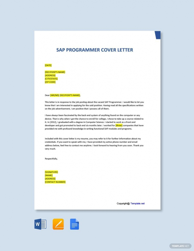 Free Sap Programmer Cover Letter Template Ad    Paid