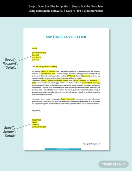 Free Sap Tester Cover Letter Template Ad    Affiliate  Tester