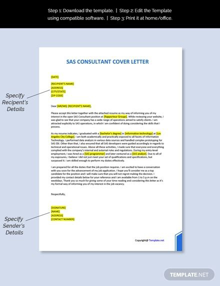 Free Sas Consultant Cover Letter Template Ad    Ad  Consultant