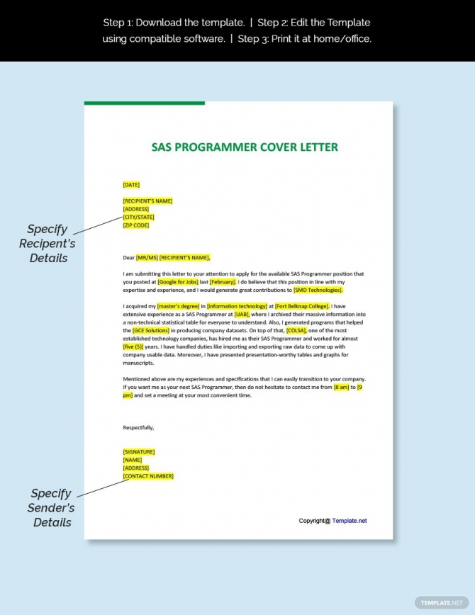 Free Sas Programmer Cover Letter Template In