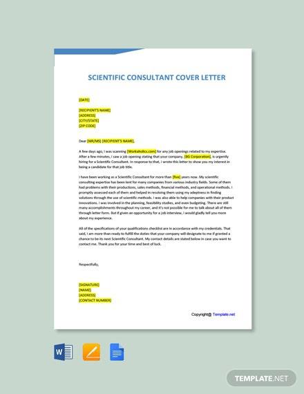 Free Scientific Consultant Cover Letter