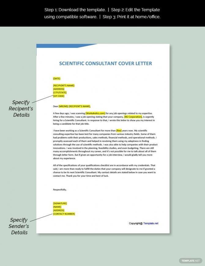 Free Scientific Consultant Cover Letter Template Ad    Affiliate