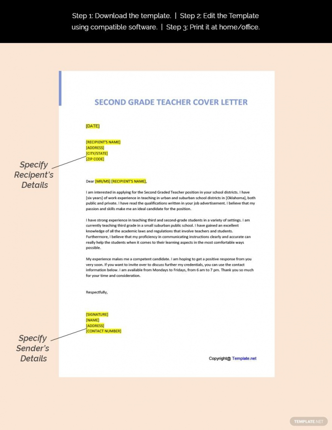 Free Second Grade Teacher Cover Letter Template Ad    Sponsored