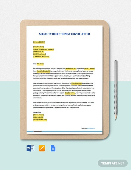 Free Security Receptionist Cover Letter