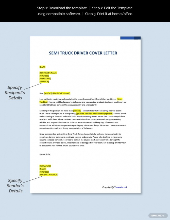 Free Semi Truck Driver Cover Letter Template