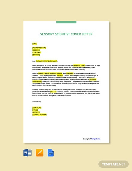 Free Sensory Scientist Cover Letter Template