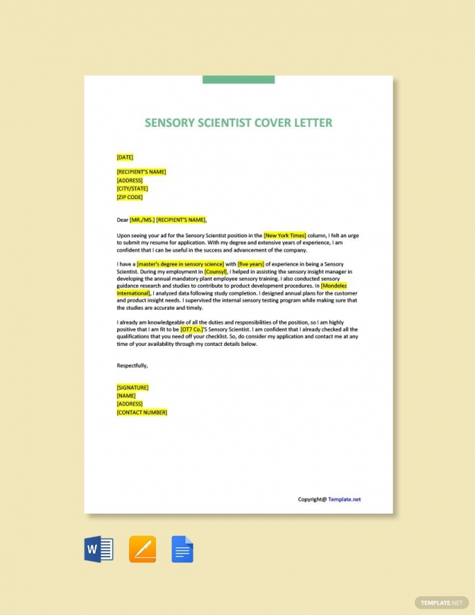 Free Sensory Scientist Cover Letter Template In