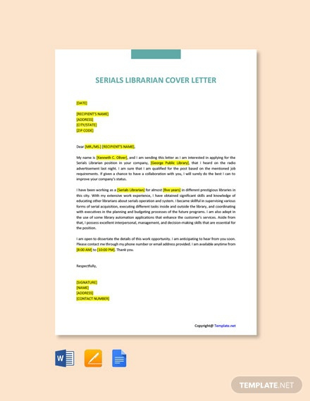 Free Serials Librarian Cover Letter Template