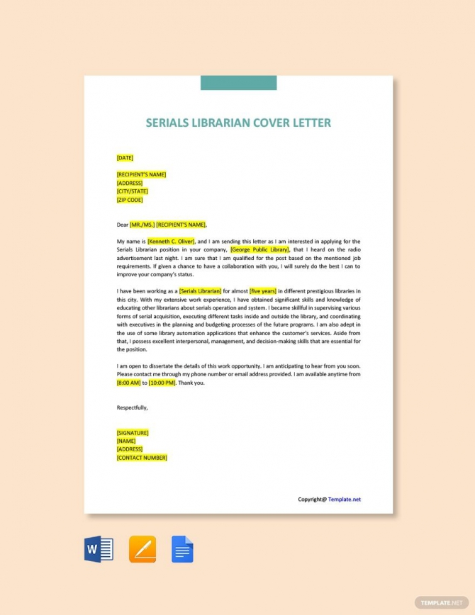 Free Serials Librarian Cover Letter Template In