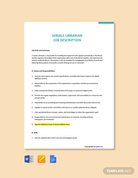Free Serials Librarian Job Description Template