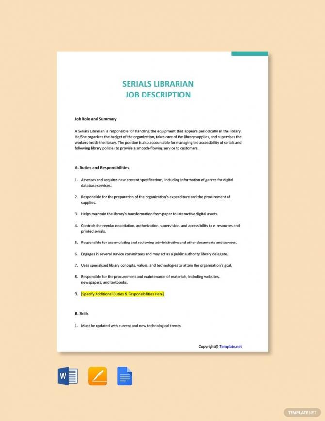 Free Serials Librarian Job Description Template Ad    Sponsored