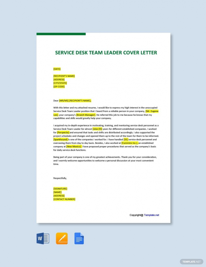 Free Service Desk Team Leader Cover Letter Template In