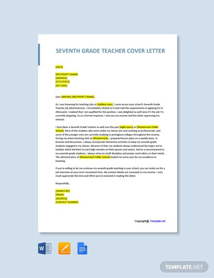 Free Seventh Grade Teacher Cover Letter Template