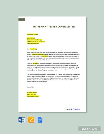 Free Sharepoint Tester Cover Letter Template