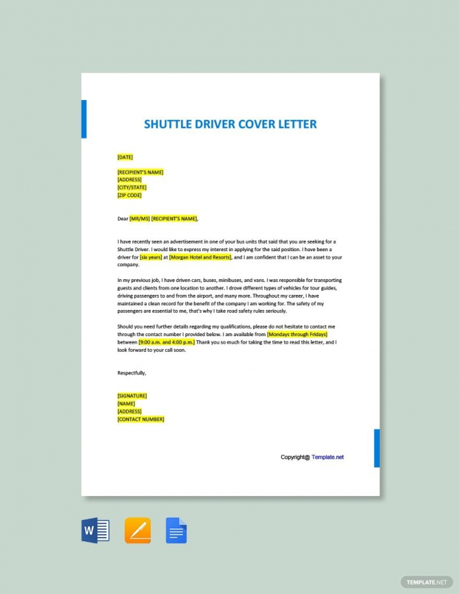 Free Shuttle Driver Cover Letter Template In
