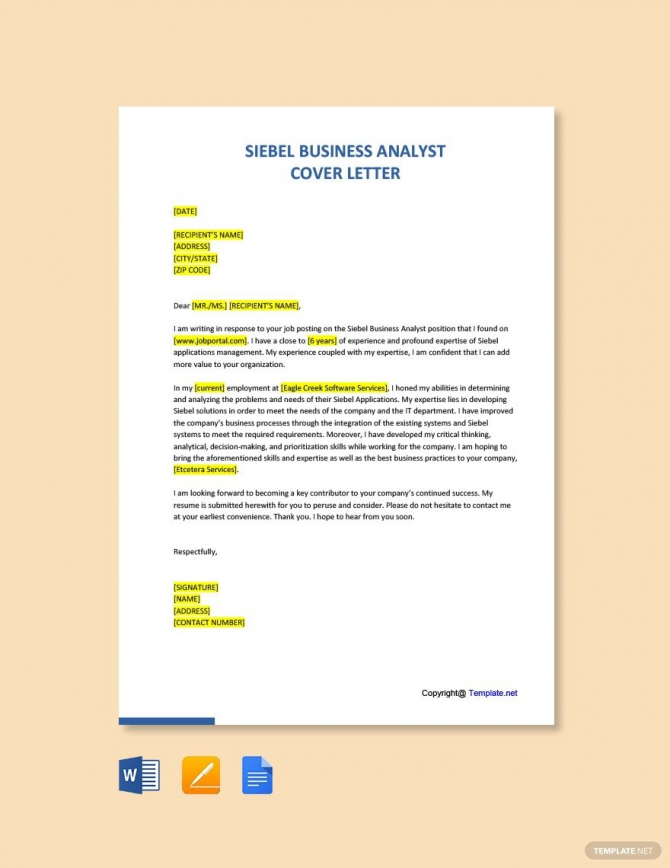 Free Siebel Business Analyst Cover Letter Template
