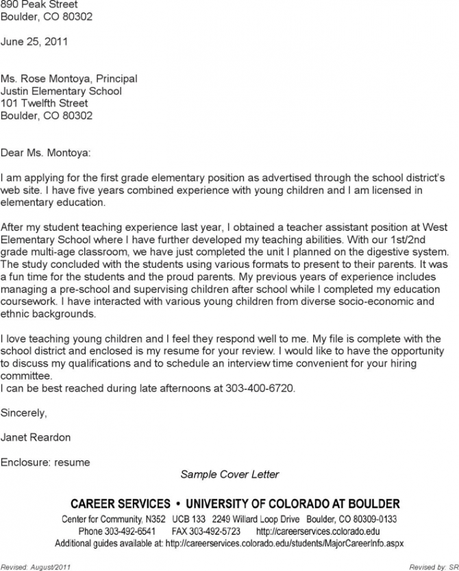 Free Teacher Cover Letters